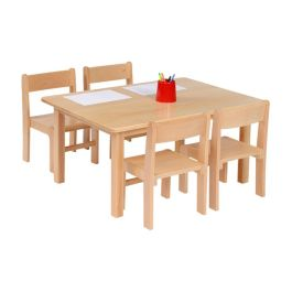 Nursery Solid Beech Rectangle Table and 4 Stacking Chairs