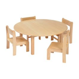 Solid Beech Circular Table and 4 Stacking Chairs