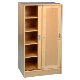Solid Beech Classroom Cupboard with Sliding Doors