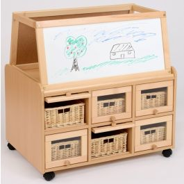 Double Sided Storage Unit with Drywipe Easel