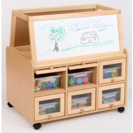 Classroom Resource Unit with Drywipe Easel and Trays