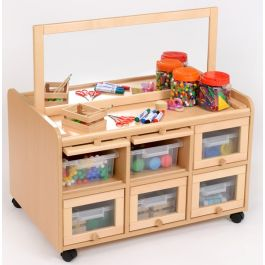 Double Sided Resource Unit with Mirror Shallow Trays & Doors
