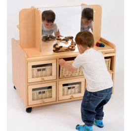Double Sided Resource Unit with Doors, Storage, Mirror and Shallow Baskets