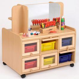 Double Sided Classroom Resource Unit with Mirror/Display Shelf Trays & Doors