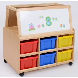 Double Sided Storage Unit with Dry Wipe Magnetic Easel & Deep Trays
