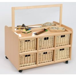 Double Sided Storage Unit with Mirror & Wicker Baskets