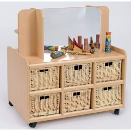 Double Sided Storage Unit with Mirror, Display Shelf and Wicker Baskets