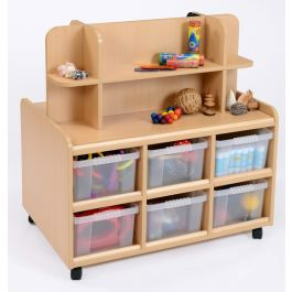 Double Sided Storage Unit with Mirror, Display Shelf and Deep Trays