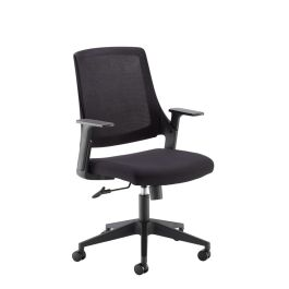 Duffy Black Mesh Back Operator Chair with Black Fabric Seat