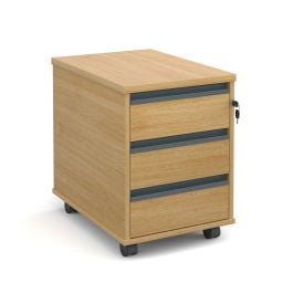 3 Drawer Mobile Pedestal with Finger Pull Handles