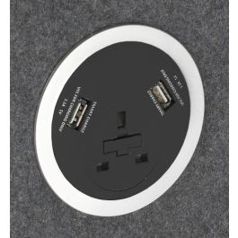 Power Module - 1 UK Socket 2 Smart Charge 500mm lead - Black