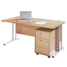 Next Day Straight Desk with 2 Drawer Pedestal