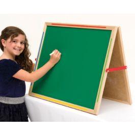 Little Acorns Solid Wood Share 'N' Write Desktop Whiteboard/ Calkboard