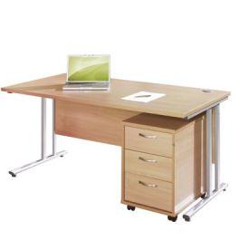 Next Day Straight Desk with 3 Drawer Pedestal