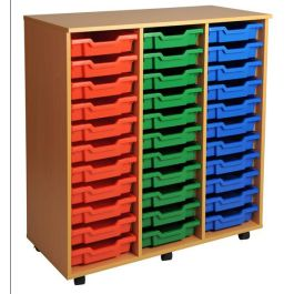 Triple Column Shallow 33 Tray Mobile Storage Unit