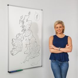 WriteOn® Magnetic UK County Map Whiteboard