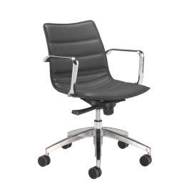 Milan Leather Look Chrome Base Swivel Chair