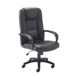 Keno High Back Black Leather Faced Managers Chair