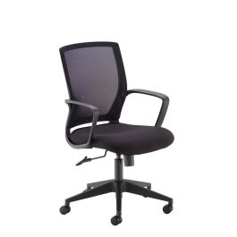 Jonas Black Mesh Back Operator Chair with Black Fabric Seat and Chrome Base