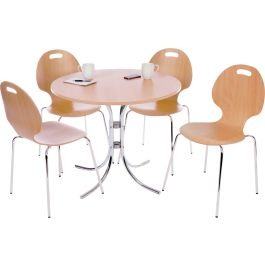 Café Bistro Set - Light Wood Table and Four Cafe Style Chairs