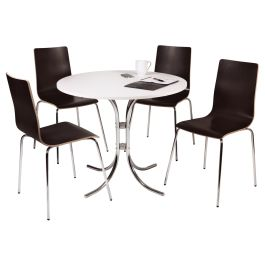 Loft Bistro Set  - White Table and Four Wenge Coloured Chairs