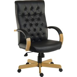 Warwick Noir Traditional Bonded Leather Faced Executive Armchair
