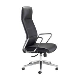Pallas Black Leather Executive Chair With Chrome Arms