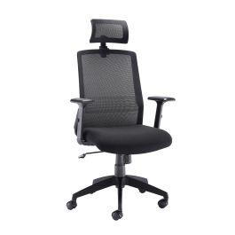 Denali High Back Chair with Headrest - Black Mesh