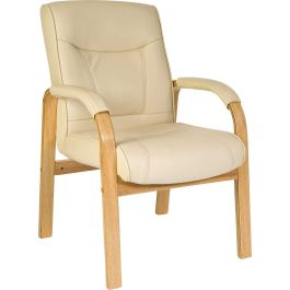 Knightsbridge Leather and Wood Visitor Chair