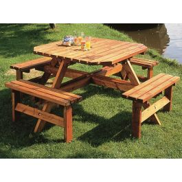 8 Seater Octagonal Wooden Picnic Bench