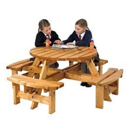 Round Children's Wooden Picnic Bench