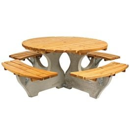 Round Heavy Duty Wooden & Concrete Picnic Table