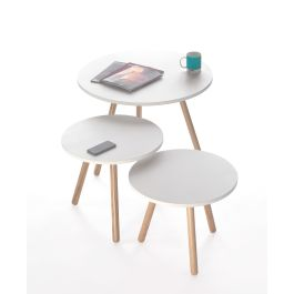 Medium Cafe and Bistro Tripod Table with White Top and Wooden Legs