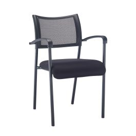 Jupiter Mesh Back Side Conference Armchair - Black Frame