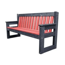 Recycled Plastic Outdoor Bench Dale Coloured Back and Seat