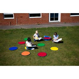 Rainbow Outdoor Circle Mats Set of 30 with FREE Holdall