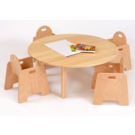 Nursery Solid Beech Circular Table With 4 Ply Chairs