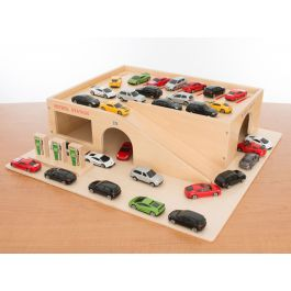Wooden Garage, Cars, Tray and Lid