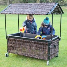 Children's Wicker Sand and Water Tray with Shelter