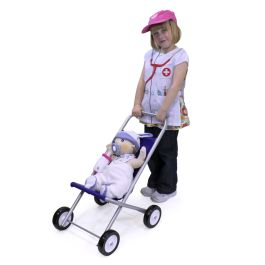 EYFS Large Dolls Pushchair Silver with Blue Cover