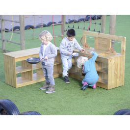 Complete Outdoor Wooden Pretend Play Kitchen Set