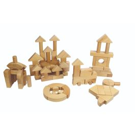 Children's Wooden Building Blocks-Set of 92
