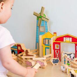 Happy Architect Wooden Farm Set - 26 Pieces