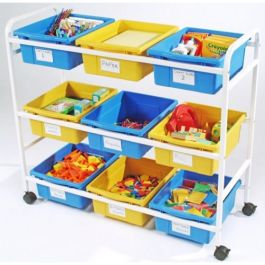 Classroom Storage Cart with 9 Large Open Tubs