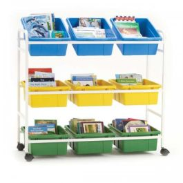Classroom Storage Cart with 9 Divided Tubs