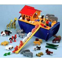 Large Wooden Noah's Ark Play Set