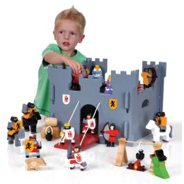 Wooden Medieval Castle and Figure Set