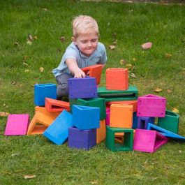 Outdoor Coloured Hollow Blocks - 27 Pieces - No Tray