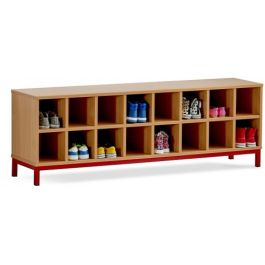 Monarch Cloakroom Bench with 16 Open Compartments