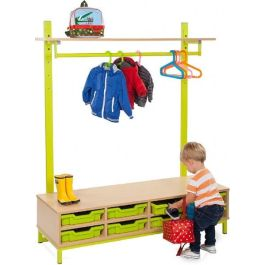 Bubblegum Cloakroom Bench Bundle with Hanging Rail